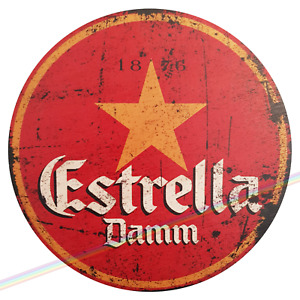 Circle Wooden Signs - ESTRELLA DAMM Mancave Vintage Retro Wood Bar Pub Beer Sign