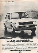 Publicité Advertising 1977  VOLKSWAGEN GOLF  VW