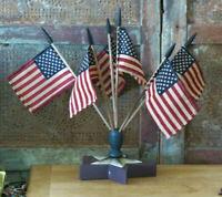 Primitive Americana Star Flag Finial w Flags Patriotic Centerpiece wood base