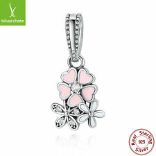 Authentic 925 Sterling Silver Pink Flower Charm Bead fit European Bracelet Chain