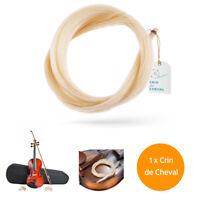 Crin De Cheval Pour Archet de Violon - Qualite AAA - Non Traite - 78 cm - Blanc
