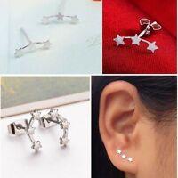 Simple Women Tiny Ear Stud Three Star Earrings Silver Plated Wedding Jewelry