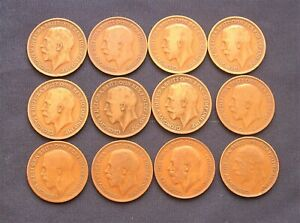 Twelve George V Penny Coins 1912-1927 - Large Head Type