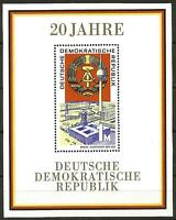 Germany (East) DDR GDR 1969 MNH 20th Anniversary - Minisheet Block 28 MSE1228