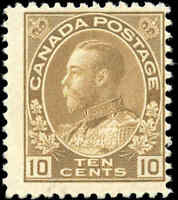 Mint H Canada 10c 1911-25 F Scott #118 KGV Admiral Issue Stamp