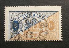 1874-1898 1 Kr STAMP Sweden Scott Facit Light STOCKHOLM CANCEL 1895 EN KRONA