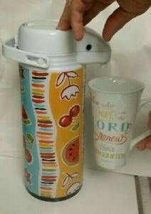 Floral Fruit Air Pump Pot Thermos Dispenser Pitcher Hot Cold Beverage 1.9L