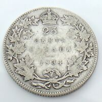 1934 Canada 25 Twenty Five Cents Quarter Silver King George V Canadian Coin G740