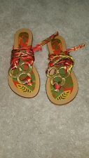Women's Criss-Cross Material Tie Up Multi-Color Floral Summer Sandals