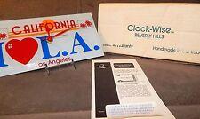 Vintage Clock-Wise California License Plate I Love LA Glass Wall Desk Clock Rare