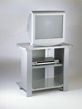 Carrello porta tv  con ruote e antine in vetro  modello kleo 74silver tecnidea
