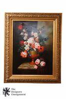 Giclee on Canvas Floral Still Life Vase by Joseph Adilon Gold Frame Designer