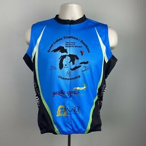Chriron Sports M Bike Jersey Blue Sleeveless Pockets