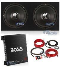 "2) Hifonics HFX12D4 12"" 1600W Car Subwoofer+Sealed Sub Box + Mono Amp + Amp kit"