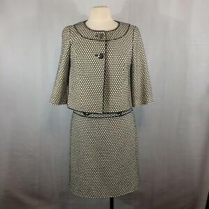 Ann Taylor Petites Honeycomb Pattern Silk Suit, Cropped Jacket, Skirt, 4P