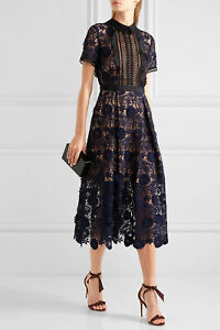 2021 Self Portrait Ladies Maxi Bohemian Embroidered Collared Cut Out Shirt Dress