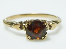 ART DECO 10K YELLOW GOLD HEART GARNET SOLITAIRE STACKABLE VINTAGE OLD RING BAND