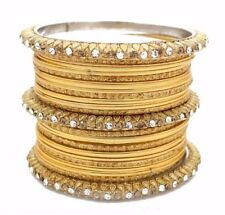 PACK OF 22 GOLD ANTIQUE LCT INDIAN CHURI KANGAN BOLLYWOOD JEWELLERY BANGLES