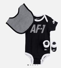 NIB Nike Infant Air Force 1 AF1 3 Piece Set Bodysuit Bib Booties 0-6M Black