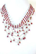 B5 Red Floral Collar de Declaración único artículo Nuevo Señoras grueso oro