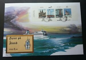 Aland Lighthouses 1992 Marine Building Duck Fish Bird Ship (booklet FDC) *rare