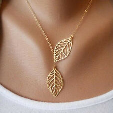 Women's Fashion Jewelry Gold Plated Leaf Charm Pendant Necklace 13-9