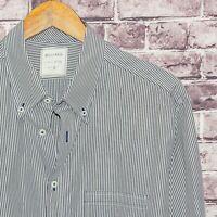 BILLY REID Fit 2 Men's Button Down Shirt Gray White Striped Size XL Cotton