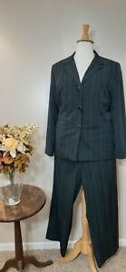 CATO WOMAN BLACK Stripe 2-Piece Pant Suit-Size 22W