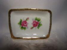 """Porcelain Trinket Dish Ring Holder Roses 4-3/4"""" Gold Trim"""