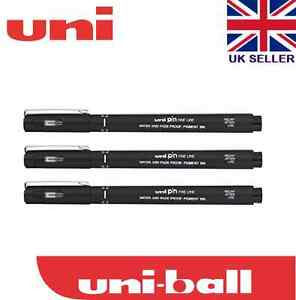 3 x UNI PIN 0.3 Line WidthDRAWING PEN FINELINER ULTRA FINE LINE MARKER IN BLACK