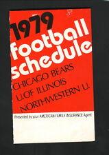 AFI--1979 Football Schedule--Chicago Bears/Illinois Illini/Northwestern Wildcats