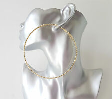 Gorgeous! HUGE! 10.5cm gold tone TWISTED - SPIRALstyle oversized hoop earrings