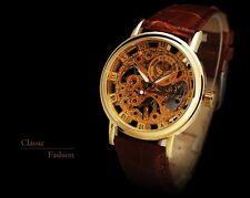 Vintage Skeleton Watch Men Mechanical S Automatic Leather Mens Invicta Wrist Dia