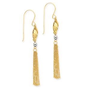 14k Two-tone Gold Bead & Chain Dangle Earrings TL538