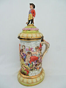 "Antique 1771-1834 Capodimonte Porcelain Lidded Tankard Stein ~ 12 1/2"" Tall"