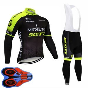 Mens Cycling Jersey And bib pants set Long Sleeve bicycle Outfits sports uniform