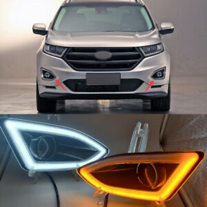 LED Daytime Running Light Front Fog Light 3 Color For Ford Edge 2015 2016-2018