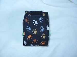 """Dog Puppy Belly Band Wrap SMALL Diapers Male Puppy Flannel lined 9.5"""" BLACK PAW"""