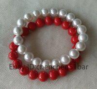 Paar 10mm weiße & rote Muschelperle Elastisches Armband 8 Zoll