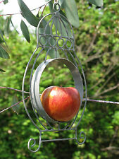 Soft Grey Rustic Metal Bird Feeder for Fat Balls or Apples