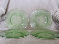 Green Depression Glass 4 Dessert  Plates  Etched Vintage 8""