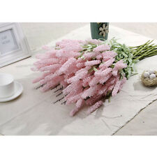 12-Heads Artificial Silk Lavender Fake Flower Wedding Bouquet Party Home Decor