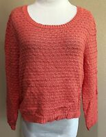 Junior's Coral Long Sleeve American Rag Cie Sweater Medium