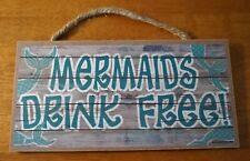 Beach Tiki Bar Decor Sign MERMAIDS DRINK FREE Wood Plank Tropical Home Decor NEW