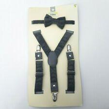 NEW OshKosh Slate Gray Suspender & Bow Tie Set for Baby Toddler Kids Boys Girls