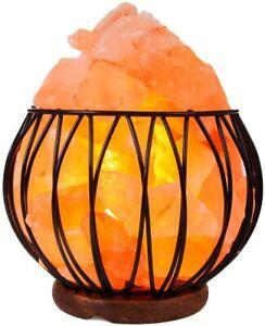 4KG Natural Himalayan Salt Lamp Mood Light Round Metal Basket with Salt Chunks