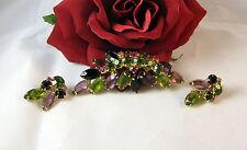 Vintage Green & Purple Rhinestone Pin & Earrings Set Feral Cat Rescue