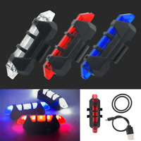 USB Rechargeable Bicycle Tail Light 5 LED Safety Cycling Warning Rear Lamp GL674