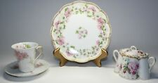 HAVILAND LIMOGES MIXED LOT WITH PINK FLOWERS/ROSES SUGAR, CUP, PLATE
