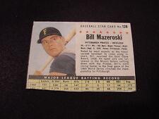VINTAGE 1961 Post Cereal #128 Bill Mazeroski, Pittsburgh Pirates, LOOK!!